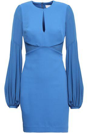 REBECCA VALLANCE Paneled stretch-knit and crepe mini dress