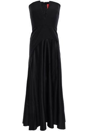 SOLACE LONDON Paneled satin and crepe midi dress