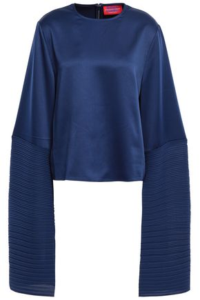 SOLACE LONDON Evelyn satin and plissé-crepe top