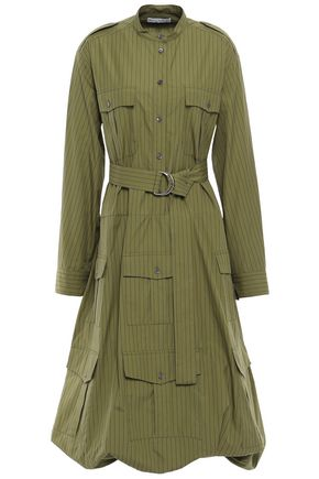 J.W.ANDERSON Belted gathered striped cotton-canvas midi dress