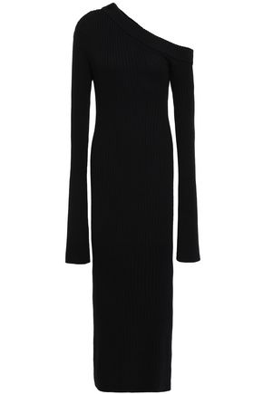 SOLACE LONDON Off-the-shoulder ribbed cotton-blend midi dress