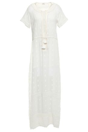 TALITHA Embellished printed cotton and silk-blend coverup