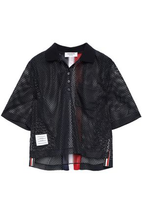THOM BROWNE Striped mesh polo shirt