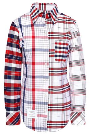THOM BROWNE Patchwork-effect checked cotton Oxford shirt