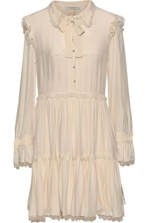 PHILOSOPHY di LORENZO SERAFINI Pussy-bow embroidered tulle-trimmed crepe de chine dress