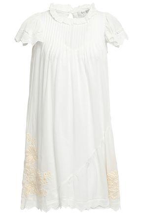 SEA Embroidered cotton-blend poplin mini dress