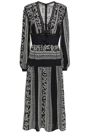 SEA Floral-print embroidered crepe midi dress