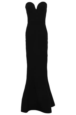 REBECCA VALLANCE Dahlia strapless fluted stretch-crepe gown