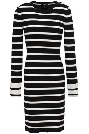 THEORY Striped ribbed-knit mini dress