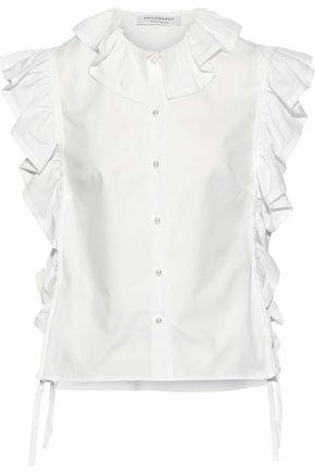 PHILOSOPHY di LORENZO SERAFINI Ruffle-trimmed cotton-poplin blouse