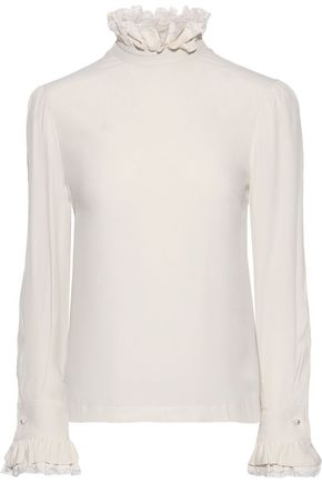 PHILOSOPHY di LORENZO SERAFINI Faux pearl-embellished crepe de chine blouse