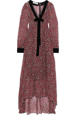 PHILOSOPHY di LORENZO SERAFINI Bow-embellished printed silk-gauze maxi dress
