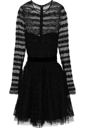 PHILOSOPHY di LORENZO SERAFINI Velvet-trimmed lace and point d'esprit mini dress