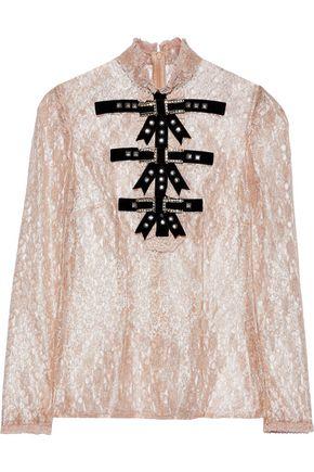 PHILOSOPHY di LORENZO SERAFINI Embellished metallic lace top