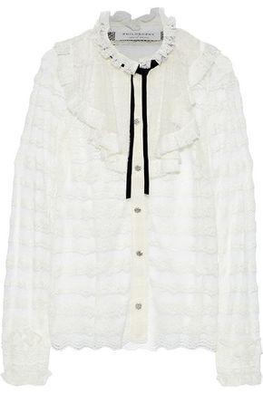 PHILOSOPHY di LORENZO SERAFINI Tie-neck ruffle-trimmed lace blouse