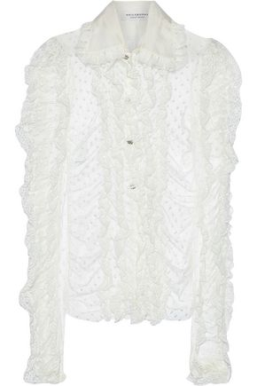 PHILOSOPHY di LORENZO SERAFINI Ruffled lace-trimmed Swiss-dot tulle blouse
