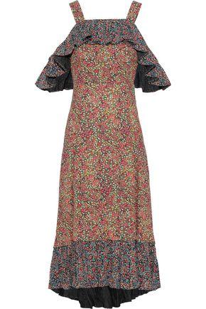 PHILOSOPHY di LORENZO SERAFINI Cold-shoulder ruffled floral-print crepe midi dress