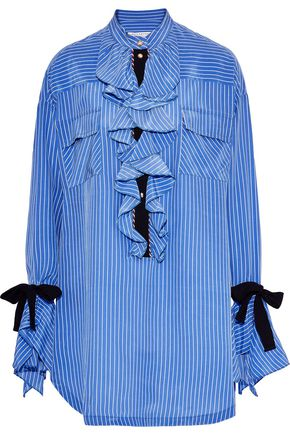 PHILOSOPHY di LORENZO SERAFINI Ruffled striped silk crepe de chine mini dress