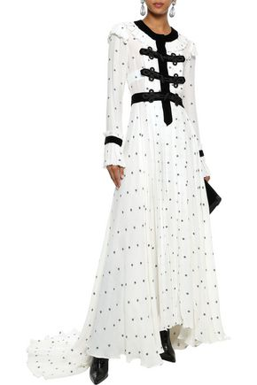 PHILOSOPHY di LORENZO SERAFINI Corded lace-paneled fil coupé gauze gown