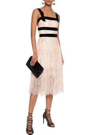 PHILOSOPHY di LORENZO SERAFINI Velvet-trimmed pleated metallic Chantilly lace midi dress