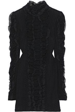 PHILOSOPHY di LORENZO SERAFINI Ruffled lace-trimmed pointelle-knit mini dress