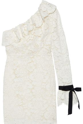 PHILOSOPHY di LORENZO SERAFINI One-shoulder cotton-blend corded lace mini dress