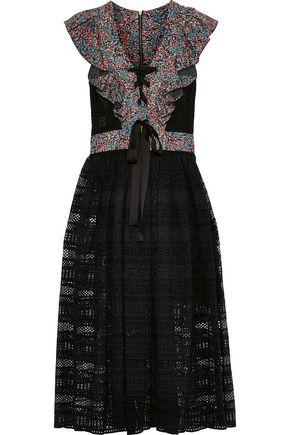 PHILOSOPHY di LORENZO SERAFINI Ruffled floral-print crepe-paneled cotton-blend lace midi dress