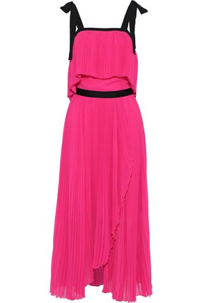 PHILOSOPHY di LORENZO SERAFINI Layered plissé-georgette midi dress