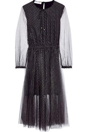 PHILOSOPHY di LORENZO SERAFINI Gathered glittered tulle midi dress