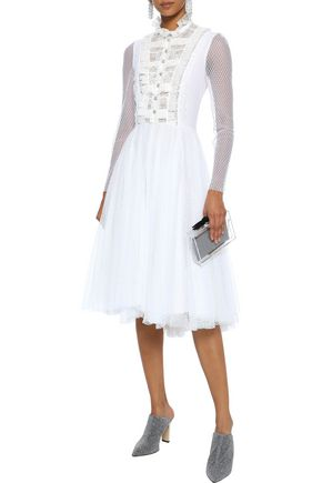 PHILOSOPHY di LORENZO SERAFINI Lace-trimmed crystal-embellished point d'esprit dress