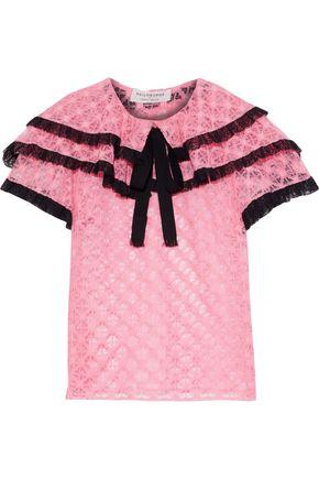 PHILOSOPHY di LORENZO SERAFINI Ruffled lace-trimmed crocheted blouse