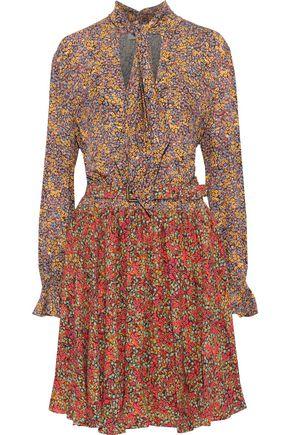 PHILOSOPHY di LORENZO SERAFINI Belted printed washed-crepe dress