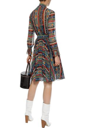 PHILOSOPHY di LORENZO SERAFINI Tie-neck belted printed silk-chiffon dress