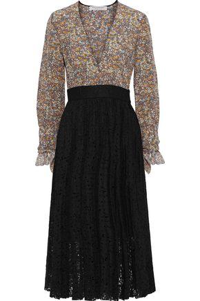 PHILOSOPHY di LORENZO SERAFINI Printed washed-silk and pleated lace midi dress