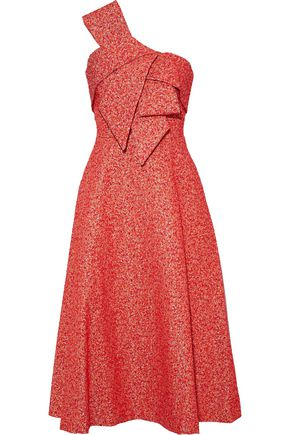 LELA ROSE Strapless bow-embellished metallic jacquard midi dress