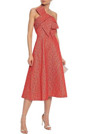 LELA ROSE Strapless bow-embellished metallic jacquard midi dress