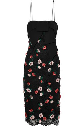 LELA ROSE Bow-embellished floral-appliquéd corded lace dress