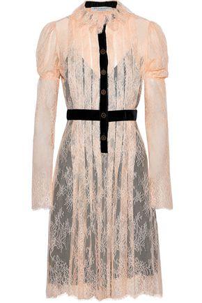 PHILOSOPHY di LORENZO SERAFINI Velvet-trimmed pintucked Chantilly lace dress