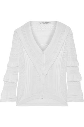 PHILOSOPHY di LORENZO SERAFINI Ruffle-trimmed pointelle-knit top