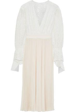 PHILOSOPHY di LORENZO SERAFINI Pleated crepe de chine and corded lace midi dress