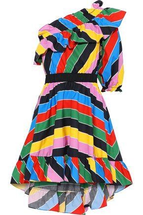 PHILOSOPHY di LORENZO SERAFINI One-shoulder ruffled striped cotton mini dress