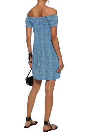 PHILOSOPHY di LORENZO SERAFINI Off-the-shoulder printed silk mini dress