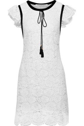PHILOSOPHY di LORENZO SERAFINI Ruffled cotton-blend guipure lace mini dress