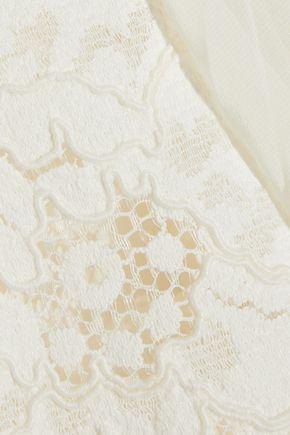 PHILOSOPHY di LORENZO SERAFINI Layered corded lace and pleated chiffon mini dress
