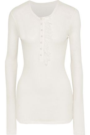 PHILOSOPHY di LORENZO SERAFINI Lace-trimmed ribbed jersey top