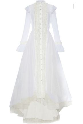 PHILOSOPHY di LORENZO SERAFINI Lace-trimmed crystal-embellished point d'esprit gown