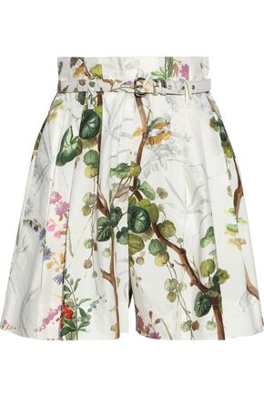 Belted Printed Cotton Poplin Shorts by Philosophy Di Lorenzo Serafini