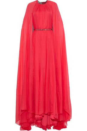 PHILOSOPHY di LORENZO SERAFINI Cape-back belted silk-chiffon gown