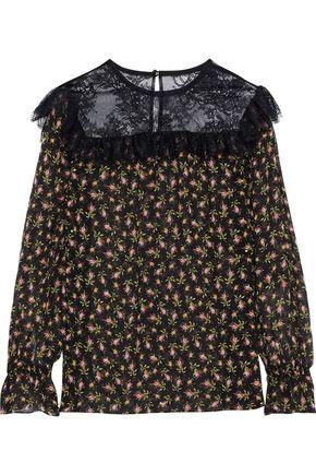 PHILOSOPHY di LORENZO SERAFINI Chantilly lace-paneled floral-print silk-chiffon blouse