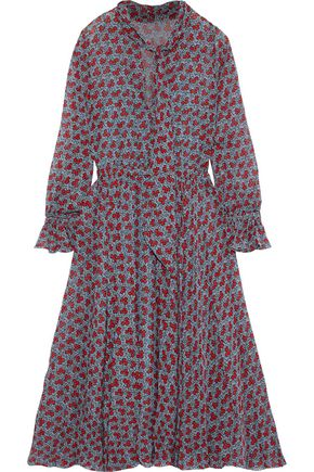 PHILOSOPHY di LORENZO SERAFINI Tie-neck floral-print silk-chiffon dress